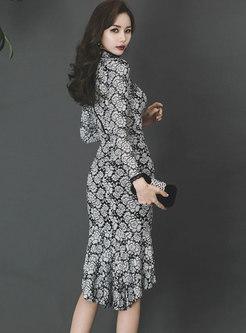 Half Turtleneck Print Bodycon Peplum Dress