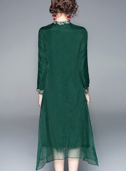 Elegant Green Stand Collar Embroidered Asymmetric Gauze Dress