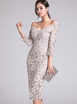 Stylish Slash Neck Off Shoulder Lace-paneled Sheath Dress