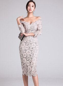 e63562ebffc Stylish Slash Neck Off Shoulder Lace-paneled Sheath Dress