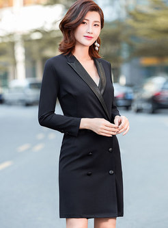 Stylish Black Notched Double-breasted Bodycon Dress