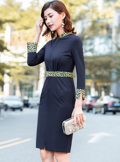 Chic Leopard Splicing Gathered Waist Slit Sheath Dress