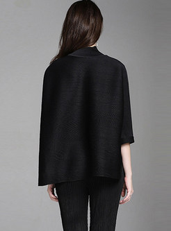 Solid Color Three Quarters Sleeve Asymmetric Blouse
