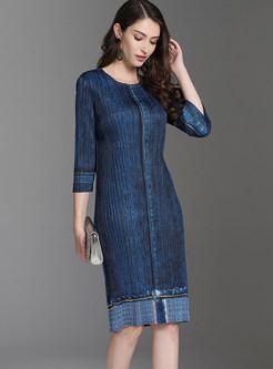 Elegant O-neck Three Quarters Sleeve Bodycon Dress