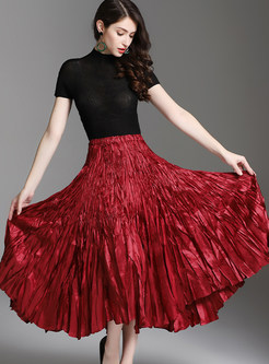 Fashion Elastic High Waist A Line Pleated Skirt