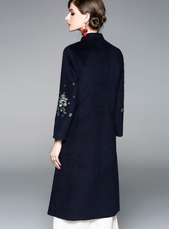 Fashion Stand Collar Embroidered Single-breasted Slim Coat