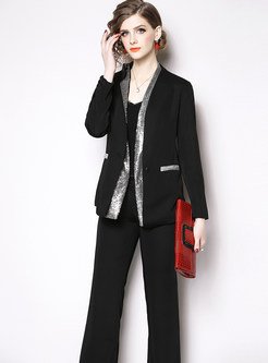 Sequined Three Quarters Sleeve Blazer & Flare Pants