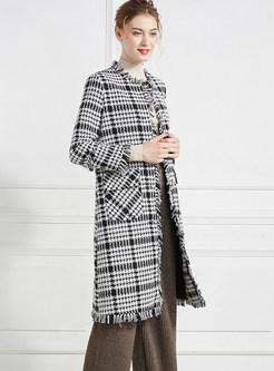 O-neck Long Sleeve Pocket Knee-length Overcoat