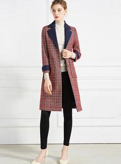 Style Plaid Color-blocked Lapel Woolen Coat