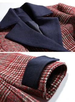 Plaid Color-blocked Lapel Woolen Overcoat