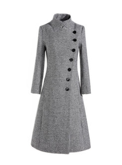 Stand Collar Slim Houndstooth Single-breasted Coat