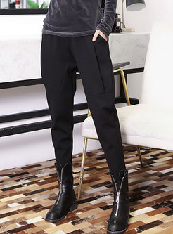 Casual Winter Black High Waist Pencil Pants With Pockets