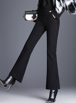 Striped High Waist Slim Flare Pants