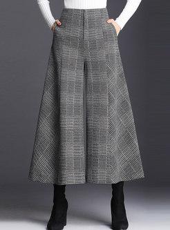 Casual High Waist Plaid Hairy Wide-leg Pants