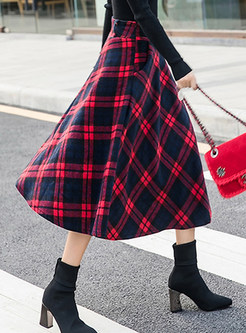 Winter Retro Mid-claf Big Hem Plaid Woolen Skirt