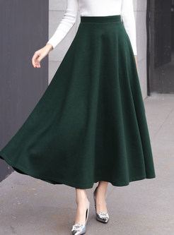 Solid Color High Waisted Big Hem Maxi Skirt