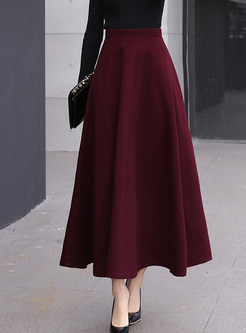 Style High Waist Big Hem Woolen Maxi Skirt