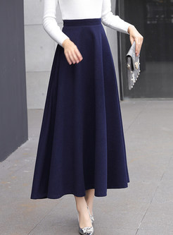 Stylish High Waist Big Hem Hairy Maxi Skirt