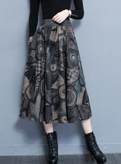 High Waist Plus Size Print Woolen Skirt