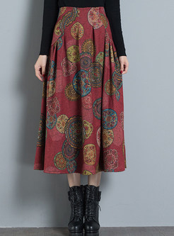 Stylish Print Pleated A Line Skirt