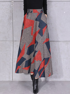 Winter Woolen Color-blocked Geometric Print Skirt