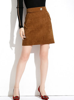 Fashion Brown Solid High Waist A Line Skirt