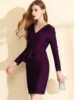 Elegant Solid Color V-neck Falbala Sheath Dress