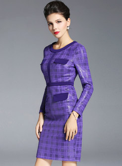 Purple Grid Gathered Waist Sheath Dress