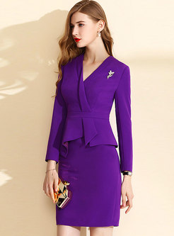 OL Purple V-neck Gathered Waist Bodycon Dress