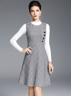 Stylish Grid Sleeveless High Waist A Line Dress