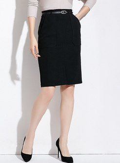 Casual Black High-rise Split Wrap Sheath Skirt