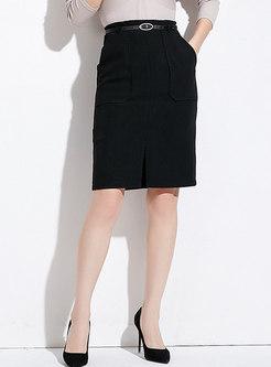 Casual Black High-rise Split Wrap Sheath Skirt