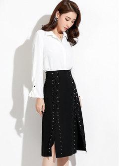 Stylish High Waist A Line Midi Skirt With Beaded Detail