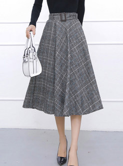 Brief Plaid Mid-claf Woolen Skirt With Belt