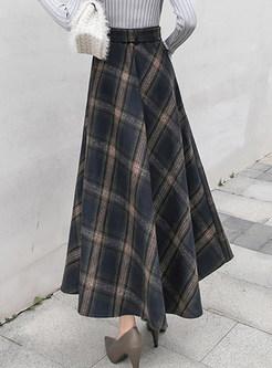 Winter High Waist Big Hem A Line Maxi Skirt