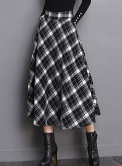 High Waist Pocket Plaid Woolen Big Hem Skirt