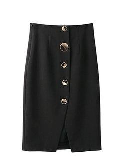 Black High Waisted Sheath Split Skirt