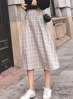 Trendy Casual Plaid Mid-claf A Line Skirt