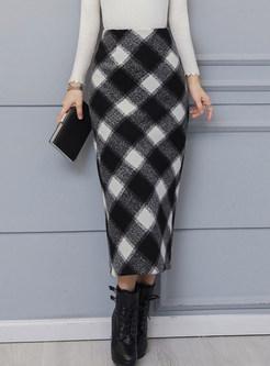 High Waist Woolen Thermal Slit Bodycon Skirt