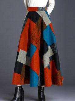 Vintage High Waist Print Ankle-length A Line Skirt