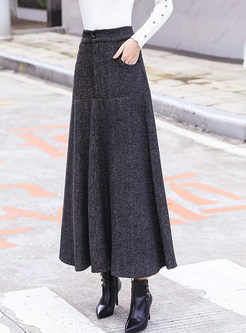 Vintage Woolen Striped Thicken Big Hem Skirt