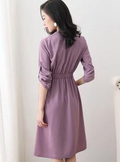 Solid Color V-neck Long Sleeve Mini Skater Dress
