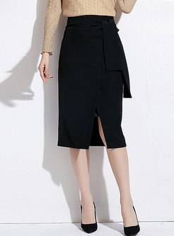 Chic Black Split All-matched Wrap Bodycon Skirt