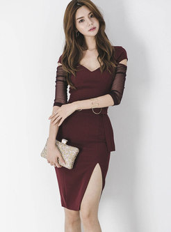 Elegant Wine Red V-neck Mesh Stitching Sheath Dress