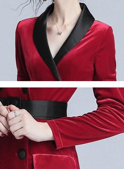 Color-blocked V-neck Long Sleeve Sheath Mid-claf Dress