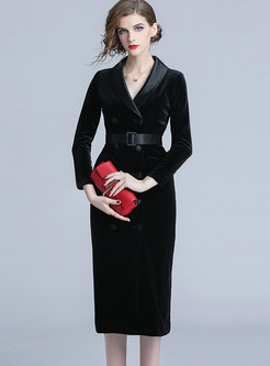Style Solid Color Double-breasted Waist Bodycon Dress