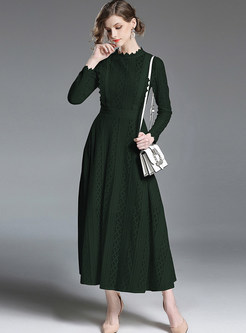 787704867a9d Fashion Notched Three Quarters Sleeve Maxi Dress. US 75.15. Brief Standing  Collar Slim Big Hem Maxi Dress