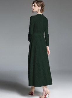 Brief Standing Collar Slim Big Hem Maxi Dress