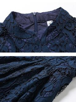 Vintage Mandarin Collar Hollow Out Lace Dress