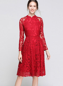 Solid Color Long Sleeve Lace Waist A Line Dress